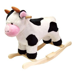 Happy Trails - Black & White Plush Rocking Cow w Wooden Rock - Recommended for ages 2 yrs. old & up. Recommended Weight Limit: 80 lbs.. Soft and plush to the touch. Hand crafted with a hard wood core and stands on sturdy wood rockers. 28 in. L x 14.50 in. W x 23 in. H (13 lbs.). Seat Height: 19 in.This lovable, cuddly bear will be a sure hit with any child. This is much more than your average teddy bear.
