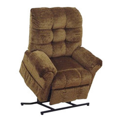 "Catnapper - Catnapper Omni Power Lift Full Lay-Out Chaise Recliner Chair in Havana - Catnapper - Recliners - 4827210236 - This Omni ""Power Lift"" Full Lay-Out Chaise Recliner by Catnapper is the most convenient and ultimate lift chair with long life performance. This Large Scale / Heavy Duty recliner features Comfort Chaise Seating, Plush Pad Roll Arm and Steel Seat Box. It has 450 Lb. Weight Capacity. It is available in Saddle Suede or Thistle, Chianti, Black Pearl, and Havana Chenille. Relaxed and casual look will make this recliner fit into any living room, den or family room!"