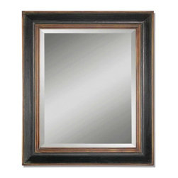 Uttermost - Fabiano Black Wood Mirror Hand Rubbed Finish and Beveled Glass - This rectangular shaped mirror is the perfect addition for a more masculine space. With hand rubbed wood and beveled glass finishes it is sure to complement any space in the home or office. Finish is black with a gray glaze. Outer frame and inner frame edges feature an antiqued gold finish. Beautiful, functional design.