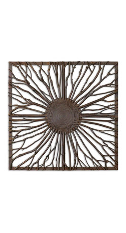 Uttermost - Josiah Square Wooden Wall Art - Give your wall a sunburst of branches with this sculptural wall piece by Grace Feyock. Wooden branches have been crafted into this spiraling shape, and given burnished edges and a square frame for extra refinement. It's eco-chic at its very finest.