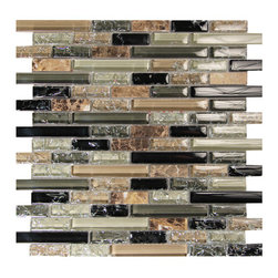 Crackled Glass Tile Mosaic Lineal Pattern, Nyb-Sx005, Box - Sold by the box 11 sheets