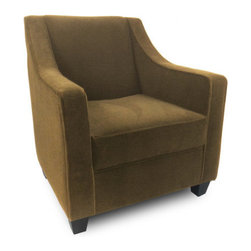 """Passport Home - Harry Chair - Sophisticated by design, the sloping silhouette of the Harry chair adds a chic and inviting aspect to any environment. Highlighted by a welting detail that only emphasizes its elegant profile, this chair is made for luxuriating with a tight back and soft seating comfort. The Harry chair is upholstered in a high quality fabric with the look of mohair. Features: -Solid wood legs.-Attached arm and back pillows.-Seat cushions of high performance.-Seams are sewn with bonded nylon.-Monofilament threads for strength and flexibility.-Soft and resilient 1.8 high density polyurethane foam with foam wrap.-Frame meets the strict standards of the California Air Resources Board.-Major frame joints are corner blocked, glued, and stapled for added stability.-Outside panels are padded to add softness and support to the fabric or leather, preventing it from sagging and becoming loose.-Tempered steel sinuous springs for both back and seat suspension ensures that your back pillows and seat cushions are properly supported and that extraordinary seat comfort is provided.-Made in the USA.-28.5"""" H x 30"""" W x 31"""" D, 60 lbs.-Collection: Harry.-Upholstered: Yes .-Distressed: No.-Country of Manufacture: United States.Dimensions: -Overall Product Weight: 60 lbs."""