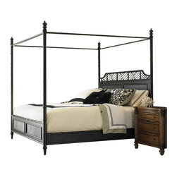Henry Link - Henry Link West Indies Poster Bed in Weathered Black Finish-King Size - Henry Link - Beds - 014011111C