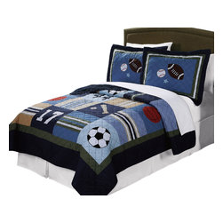 Pem America - All State Full/Queen Quilt With 2 Shams - All State 100% cotton quilted bedding uses current colors and natural cotton face and filling material for a long lasting and comfortable bed.  No sport is left out on this great bedding pattern with footballs, soccer balls and baseballs that are hand pieced and embroidered.  The deep navy blue, khaki and sage green highlights make decorating with this bed easy.  All State boys bedding is completely accessorized to help you complete that perfect sport themed bedroom. Hand crafted set includes 1 full/queen quilt (86x86 inches) and 2 standard shams (20x26 inches). Face cloth is 100% cotton.  Filled with 94% cotton / 6% other fibers. Machine washable.