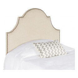 Safavieh - Jessa Twin Headboard - Classic and expertly tailored, the softly arched Jessa twin headboard in hemp-toned linen fabric is the ideal choice for a beautiful bedroom makeover in minutes. Stunning brass nailheads outline the graceful silhouette of this plush headboard.