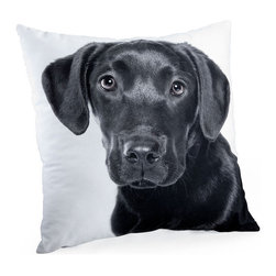 Lava - Black Lab 18X18 Decorative Pillow (Indoor/Outdoor) - 100% polyester cover and fill.  Suitable for use indoors or out.  Made in USA.  Spot Clean only