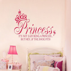 ColorfulHall Co., LTD - Wall Decals for Kids Girls Princess Queen Crown Style , Rose Red - Wall Decals for Kids Girls Princess Queen Crown Style