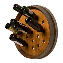 Alpine Wine Design - Round Wine Barrel Wine Rack - This wine barrel rack takes you full circle. A functional work of art, it's expertly crafted by hand from a wine barrel with the original steel reinforcing bands surrounding the perimeter. With enough space to hold 19 of your favorite varietals at the ready, it's an instant best cellar.