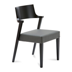 DomItalia Furniture - Lirica Black Matte Dining Chair / Grey Leather Seat (Set of 2) - Made of solid beechwood in Black Matt Lacquer finish, this set of chairs boasts quality Italian craftsmanship and top materials, such as wood and leather available in Grey finish.