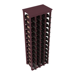 "48 Bottle Kitchen Wine Rack in Pine with Burgundy Stain - Store 4 complete cases of wine in less than 20"" of wall space. Just over 4 feet tall, this narrow wine rack fits perfectly in hallways, closets and other ""catch-all"" spaces in your home or den. The solid wood top serves as a shelf or table top for added convenience and storage of nick-nacks."