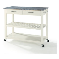 Crosley - Solid Granite Top Kitchen Cart/Island With Optional Stool Storage - Dimensions:   18 x 42 x 36 inches