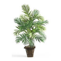 Nearly Natural - Areca Palm with Wicker Basket Silk Plant - Experience the mesmerizing, relaxing beauty that only a palm tree can deliver. This graceful Areca Palm is a wonderful addition to your home or office, and brings a warm, tropical elegance to any room (you'll want to find your hammock!) A full 38' tall, it comes in a decorative wicker basket, which provides an added sense of flair.