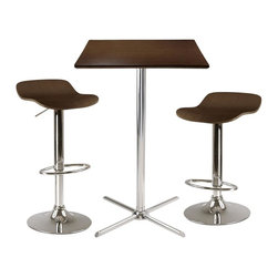 Winsome Wood - Kallie 3-Pc Square Pub Table Set - Includes table and two stools. Laminated table top. Chrome leg and base. Air lift adjustable stools. Made from composite wood and metal. Cappuccino finish. Assembly required. Adjustable height: 22.70 in. - 30.80 in.. Seat: 15.20 in. W x 16.11 in. D. Stool: 15.2 in. W x 16.73 in. D x 33.61 in. H. Table: 23.62 in. L x 23.62 in. W x 40.35 in. HKallie 3pc Square Pub Table Set is perfect additional for your kitchen or game room.