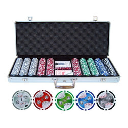 JP Commerce - Double Royal Flush Poker Chip Set - 500 double royal flush style. Two decks of playing cards. Five red dice. One dealer button. 11.5 gram clay composite poker chips. Silver aluminum case with black interior. Poker chip combination: 150 White(1), 150 Red(5), 100 Green(25), 50 Blue(50), 50 Black(100). Weight: 19 lbs.