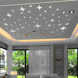 ColorfulHall Co., LTD - 3D Wall Stickers Lovely Stars Planet, Sliver - 3D Wall Stickers Lovely Stars Planet