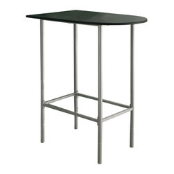 Monarch Specialties - Monarch Specialties 2335 Black Top Spacesaver Bar Table in Silver - Enhance the trendy contemporary look of your casual dining area with this silver metal spacesaver bar that features sleek tube legs and a white top. This Moon shaped piece can be placed up against a wall to save space in smaller homes like an apartment or dorm room.