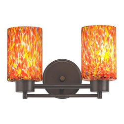 Design Classics Lighting - Modern Bathroom Light with Art Glass in Neuvelle Bronze Finish - 702-220 GL1012C - Contemporary / modern neuvelle bronze 2-light bathroom light. A socket ring may be required if installed facing down. Takes (2) 100-watt incandescent A19 bulb(s). Bulb(s) sold separately. UL listed. Damp location rated.