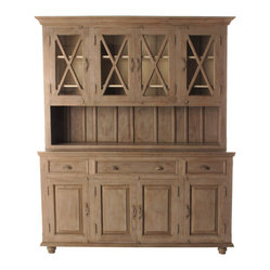 French Country Plantation 4 Door Hutch Cabinet- Large