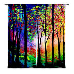 """DiaNoche Designs - Window Curtains Lined by Aja-Ann Autumn Eve II - Purchasing window curtains just got easier and better! Create a designer look to any of your living spaces with our decorative and unique """"Lined Window Curtains."""" Perfect for the living room, dining room or bedroom, these artistic curtains are an easy and inexpensive way to add color and style when decorating your home.  This is a woven poly material that filters outside light and creates a privacy barrier.  Each package includes two easy-to-hang, 3 inch diameter pole-pocket curtain panels.  The width listed is the total measurement of the two panels.  Curtain rod sold separately. Easy care, machine wash cold, tumble dry low, iron low if needed.  Printed in the USA."""