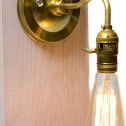 Junkyard LIghting - Brass Arm Bare Bulb Edison Paddle Key Socket Wall Sconce - An all Brass Wall Sconce, has a great curve to the brass arm to give the wall sconce a very vintage and simple feel. I used a top of the line brass socket with vintage style paddle key to turn the light on or off.