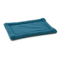 West Paw Design - Nature Nap dog kennel mat in Blue Spruce, Large - Perfect dreams start with the perfect bed! Made from soft and cozy fabric, Nature Nap® pet beds are where dreams begin. Unlike other dog mats on the market, Nature Nap's custom designed fabric has a poly-knit backing that interlocks the fibers to add strength and reduce shedding without sacrificing softness. Extra layer of padding is comprised of recycled IntelliLoft® fiber batting, which is carefully sewn inside to eliminate bunching and create a raised edge for added support and comfort. Machine Washable. Handcrafted in Montana.