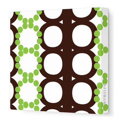 "Avalisa - Pattern - 65 Stretched Wall Art, Brown Green, 28"" x 28"" - Dot's the way! If you want to turn a wall into a powerful design statement, choose this pattern in one of these unlikely yet lovely color combos."