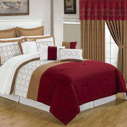 Lavish Home - Lavish Home 25 Piece Room-In-A-Bag Sarah Bedroom Set - 66-00008-24PC-K - Shop for Bedding Sets from Hayneedle.com! The Lavish Home 25 Piece Room-In-A-Bag Sarah Bedroom Set is an easy way to get a whole new look in your bedroom. This stylish collection includes everything you need from bedding to window treatments. Its rich red fresh white tan and blue color palette is accented by a lattice design. All pieces are made of super-soft polyester and coordinate with each other perfectly. The comforter is oversized overfilled reversible and detailed with embroidery work. Easy to care for too simply machine-wash in cold water and tumble-dry on low.Set Includes:1 Comforter1 Bedskirt: 15D in.2 Pillow shams: 20 x 36 in.3 Euro pillow shams: 26 x 26 in.4 Decorative pillows1 Flat sheet1 Fitted sheet2 Pillowcases4 Window panels: 56 x 84 in.2 Window valances: 84W x 15L in.4 Curtain tie-backsComforter Dimensions:Queen: 92L x 92W in.King: 106L x 92W in.About Trademark Global Inc.Located in Lorain Ohio Trademark Global offers a vast selection of items for your home and lifestyle. Whether you need automotive products collectibles electronics general merchandise home and garden items home decor housewares outdoor supplies sporting goods tools or toys Trademark Global has it at a price you can afford. Decor items and so much more are the hallmark of this company.
