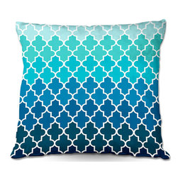 DiaNoche Designs - Pillow Linen by Organic Saturation - Aqua Ombre Quatrefoil - DiaNoche Designs works with artists from around the world to create astouding and unique home decor products.  Add a little texture and style to your decor with our Woven Linen throw pillows.  The material has a smooth boxy weave.  Each pillow is machine loomed, then printed and sewn ALL IN THE USA!!!  100% smooth poly with cushy supportive pillow insert with a hidden zip closure. Dye Sublimation printing adheres the ink to the material for long life and durability. Double Sided Print, machine wash upon arrival for maximum softness. Product may vary slightly from image.