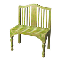 Butler Specialty - Butler Roseland Green Solid Wood Bench - Reminiscent of a gardener -s bench, this beautifully proportioned bench features a slatted back and seat with meticulously turned front legs. Crafted from solid wood it is hand-painted in a whimsical antique finish.