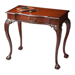 Butler Specialty Furniture - Plantation Cherry Writing Desk 6042024 - Selected solid woods, wood products and choice cherry veneers. Cherry veneer top, aprons and drawer front. Finished on all sides. Hand carved details. Drawer with antique brass finished hardware. Only listed product included.