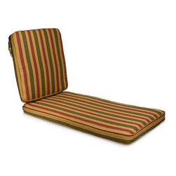 None - Indoor/ Outdoor 25-inch Wide Striped Chaise Lounge Cushion with Sunbrella Fabric - Enhance your comfort while relaxing outdoors with this patterned chaise lounge cushion. Featuring orange,red,and brown hues that are easy to match,it has attached ties to keep it secure,is machine washable,and is made of mildew-resistant material.