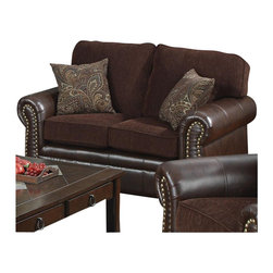 Coaster - Coaster Florence Chenille Fabric/Vinyl Love Seat in Chocolate - Coaster - Loveseats - 504042 - With this loveseat you can have both elegance and comfort for your living room or family room. The sophisticated design offers ultra soft chocolate brown chenille fabric in the seating areas with a rich look tri-tone brown leather-like vinyl on the arms base and back sides. Individually placed decorative nailheads adorn the rolled arms and colorful accent pillows add softness and style to complete the look. Supported by pocket coil seating plush box cushions and T-style back cushions sink into this loveseat's luxurious comfort.
