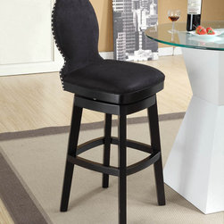 "Armen Living - Ava 26"" Swivel Barstool in Black Fabric - The incomparably chic look of the Ava Swivel Barstool in black microfiber is sure to elevate the design element in your home. Nailhead accents on the back add virulent value to sophisticated style.; Solid wood construction; 360 degree swivel mechanism; Fire retardant foam padding; Polyester microfiber fabric, easy to clean; 26"" seat height; Dimensions: 40""H x 17.5""W x 20.5""D"