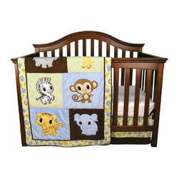 "Trend Lab - Chibi Zoo - 3 Piece Crib Bedding Set - Your little one will love to cuddle up with sweet baby zoo animals! Trend Lab's Chibi Zoo 3 Piece Crib Bedding Set is inspired by Japanese anime' featuring endearingly cute characters with oversized heads and big engaging eyes. Each Chibi Zoo animal is appliqued on incredibly soft velour or ultrasuede and is accented with an animal scatter print and mini-square print. Chibi Zoo friends are delightfully cute in any nursery! Set includes quilt, crib sheet and skirt. The quilt measures 35"" x 45"" and features patches of sage and sky blue velour as well as chocolate ultrasuede each with a different Chibi Zoo animal embroidered applique. Framing the quilt is a coordinating baby zoo animal scatter print in gray stone, sky blue, caramel, buttercup, chocolate and white on a sage background. Reverse of quilt is a mini square print in sage, gray stone, sky blue, caramel and buttercup on a white background. Chocolate ultrasuede trim adds the finishing touch. Zoo animals include: hippo, giraffe, zebra, monkey, tiger and elephant. Crib sheet features the mini square print in sage, gray stone, sky blue, caramel and buttercup on a white background. Sheet has 10"" deep pockets and fits a standard 52"" x 28"" crib mattress. Elastic around the entire opening ensures a more secure fit. Box pleat skirt with 15"" drop features the baby zoo animal scatter print in gray stone, sky blue, caramel, buttercup, chocolate and white on a sage background with chocolate ultrasuede across the bottom. Matching Chibi Zoo Crib Bumpers sold separately. Complete your nursery with coordinating room accessories from the Chibi Zoo collection by Trend Lab."