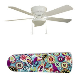 "Funky Paisley 52"" Ceiling Fan with Lamp - This is a brand new 52-inch 5-blade ceiling fan with a dome light kit and designer blades and will be shipped in original box. It is white with a flushmount design and is adjustable for downrods if needed. This fan features 3-speed reversible airflow for energy efficiency all year long. Comes with Light kit and complete installation/assembly instructions. The blades are easy to clean using a damp-not wet cloth. The design is on one side only/opposite side is bleached oak. Made using environmentally friendly, non-toxic products. This is not a licensed product, but is made with fully licensed products. Note: Fan comes with custom blades only."
