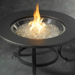 "Saturn 32"" Tripod Fire Pit - When the Saturn 32"" Tripod Fire Pit isn't in use, you can easily place the sleek cover over the fire pit for a simple, modern table to use within your outdoor patio or entertaining area. -Mantels Direct"