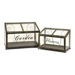iMax - iMax Tavaris Metal Greenhouse X-2-53572 - Set of two metal and glass greenhouses in graduating sizes exclusive to IMAX.