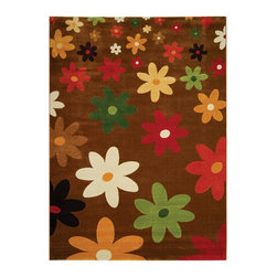"Safavieh - Porcello Yellow/Multi Area Rug PRL2703C - 5'3"" x 7'7"" - Fun colors and fetching flower-petal floral designs give this rug a creative style that's sure to bring life to any room. Soft polypropylene fibers provide a dense pile, designed to withstand high-traffic living rooms, dining spaces and hallways."