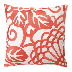 "DL Rhein - DL Rhein Chrysanthemum Mango Embroidered Linen Pillow - The Chrysanthemum pillow lends modern flair to classic floral with its oversized design. Vibrant embroidered strokes of zesty mango create a fun, graphic accent on this handcrafted pillow by DL Rhein. 16"" x 16""; Linen pillow with embroidered detail; Feather down insert included; Dry clean only"