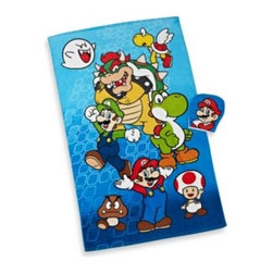 Franco Manufacturing Company, Inc. - Super Mario Bros. Bath Towel and Wash Mitt Set - This bath towel and wash mitt set is a great way to get the kids to want to take a bath. It coordinates perfectly with the Super Mario bedding collection.