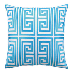 "Trina Turk - Trina Turk Greek Key Turquoise Embroidered Linen Pillow - The ancient Greek key becomes a modern geometric motif in the foursquare of the Greek Key throw pillow embroidered in bright turquoise. Handcrafted with a focus on contemporary style for your bedroom, den or living space. Pillow measures 20"" x 20""; Linen pillow with embroidered detail; Hidden zipper closure; Down pillow insert included; Natural linen may appear beige rather than white as shown"