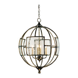 Kathy Kuo Home - Broxton Seeded Glass 4 Light Orb Pendant Lantern - Framed in an orb of wrought iron, and accented with seeded glass square panels, this unique piece of contemporary lighting creates beautiful shadows and light sure to compliment any dining room, entryway or staircase in need of contemporary wrought iron lighting.