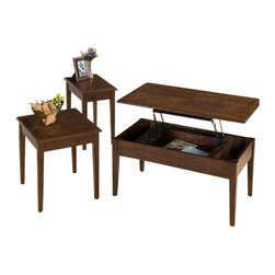 Jofran - Jofran Boise Wood Top Rectangular Cocktail Table Set with Lift-Top in Cherry - Jofran - Coffee Table Sets - 109 - The Boise set from Jofran comes complete with lift-top cocktail table, end table and chairside table. The sturdy set is constructed from solid Asian hardwood solids and cherry veneer. The transitional styled Boise set will match most living rooms at a fantastic value.
