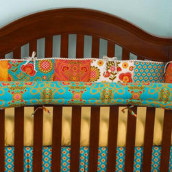 Cotton Tale Designs - Gypsy Front Cover Up - A quality baby bedding set is essential in making your nursery warm and inviting. All Cotton Tale patterns are made using the finest quality materials and are uniquely designed to create an elegant and sophisticated nursery. Gypsy offers this great idea, this front rail cover up protects your foot board on the convertible cribs and it looks great. For the parent choosing not to use a bumper, it can add the needed decor lost when the bumper is removed. Cover ups can be used with a full bumper as well. All Cotton Tale and N. Selby patterns have matching crib rails cover ups. 100% cotton. Wash gentle cycle, separate, cold water. Tumble dry low or hang dry. Functional and fun these Gypsy Crib Front Rail Cover Ups are perfect for a girls nursery.