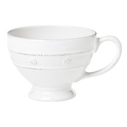 "Juliska - Juliska Berry and Thread Breakfast Cup Whitewash - Juliska Berry and Thread Breakfast Cup Whitewash. Whether it's an apres-ski hot cocoa or simply your morning joe before a day at the office, this generous cup provides more room for more sipping. A shapely silhouette is clad in a row of thread and berries for a subtle splash of adornment. Dimensions: 5"" W x 3"" H Capacity: 12 oz"