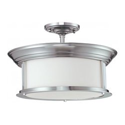 Three Light Brushed Nickel Matte Opal Glass Drum Shade Semi-Flush Mount - This three light semi-flush lamp with a brushed nickel finish and matte opal glass fits perfectly with today's modern home.