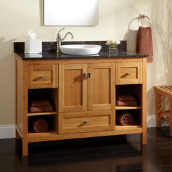 """48"""" Alcott Bamboo Vanity for Semi-Recessed Sink - An earth-friendly design and ample storage make the 48"""" Alcott Bamboo Vanity a must-have for a modern bathroom."""