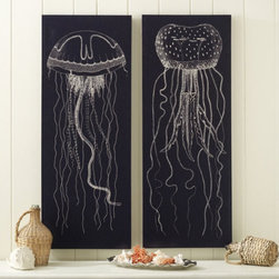 Languishing Drifters Giclee Print - If you tend toward the ocean's natural curiosities, you'll love these giclee prints of jellyfish. The graphic representation that resembles a fine chalk drawing on a black board is eye-catching.