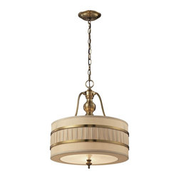 Elk Lighting - Luxembourg Collection 3 light pendant in Brushed Antique Brass - The Luxembourg collection blends classic detailing with modern design. This series has a pleated cream fabric drum shade accented with metal rings and traditional hardware finished in Brushed Antique Brass.