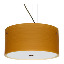Besa Lighting - Besa Lighting 1KV-4008OK-LED Tamburo 3 Light LED Cable-Hung Pendant - Tamburo is a classic open-ended cylinder of handcrafted glass, a shape that will stand the test of time. Our Oak glass is a soft off-white cased glass that is handcrafted with spiraling strokes of light brown, emphasizing the subtle brush pattern. The wood-toned rippled design is subdued and harmonious. Unlit, it appears as simply a textured surface like wood grain, but when lit the texture comes alive. The smooth satin finish on the clear outer layer is a result of an extensive etching process, with the texture of the subtle brushing. This blown glass is handcrafted by a skilled artisan, utilizing century-old techniques passed down from generation to generation. The cable pendant fixture is equipped with three (3) 10' silver aircraft cables and 10' AWM cordset, and a low profile flat monopoint canopy.Features: